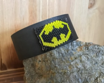 Batman // Beaded // Leather // Bracelet