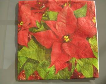 set of 2 Christmas poinsettia paper napkins