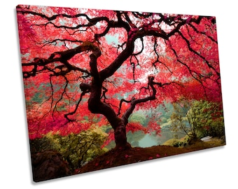 Autumn Maple Tree Floral Red CANVAS WALL ART Print Picture