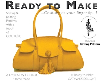 PDF Sewing Pattern   Womens High Fashion Designer HandBag Purse Wool Felt  Bag With Easy Sew