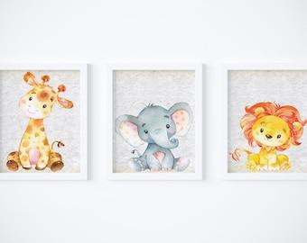 Nursery Wall Art, Safari Nursery Decor, Set of 3, Nursery Art Prints, Nursery Safari Animals, Baby Animals, Elephant, Giraffe, Lion, Safari