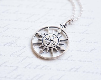 Necklace, Compass Necklace, Silver Necklace, Compass Rose, Rose Necklace, Sunburst Necklace, Handmade Necklace, Gift for Her, Graduation