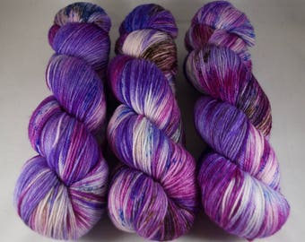 Cashmere Blend Sock Yarn, hand dyed wool, variegated sock yarn, nylon sock yarn, blue, pink, purple, brown, speckled