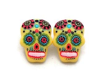 Large Yellow Sugar Skull Earrings - Rockabilly Day of the Dead Earrings