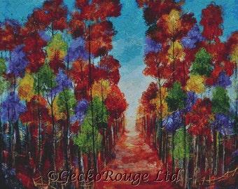 Modern Cross Stitch Kit, Autumn Forest, Counted Cross Stitch Kit, Trees , Landscpe Cross Stitch, Rozanne Bell Art,
