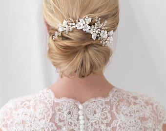 Floral Crystal & Pearl Comb, Swarovski Crystal Wedding Comb, Bridal Hair Comb, Floral Hair Comb, Pearl Hair Comb, Floral Hair Comb ~TC-2299