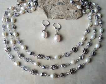 Freshwater Pearl Triple Strand Necklace.Dangle Earrings.Jewelry Set.Crystal.Silver.Gold.Statement.Bridal.White.Multi Strand.Gift.Handmade.