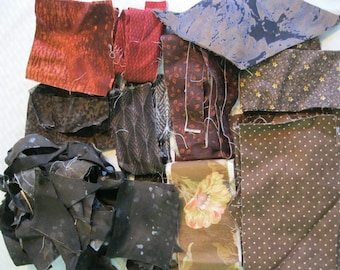 Stash-Buster Brown Cotton Quilting Fabric Scraps #2