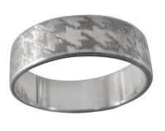 Houndstooth Engraved Wedding Band 6mm Wide Sterling Silver
