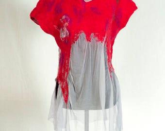 RED FAIRIE TUNIC Merino Wool Mulberry Silk Handfelted Handmade Wearable Art Beautiful Nunofelt Silk Merino Wool Felted Unique Women Fashion