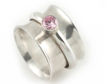Sterling Silver Band Spinner Ring with Pink CZ Stone Set Sterling Band