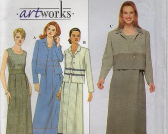 Sleeveless Dress Front Pleated Raised Waistline Scoop Neckline And Jacket With Collar Size 6 8 10 12 Sewing Pattern 1999 Simplicity 8802