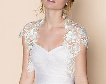 Krista Italian guipure embroidered lace bolero shrug cap sleeves cover up in pale ivory off white