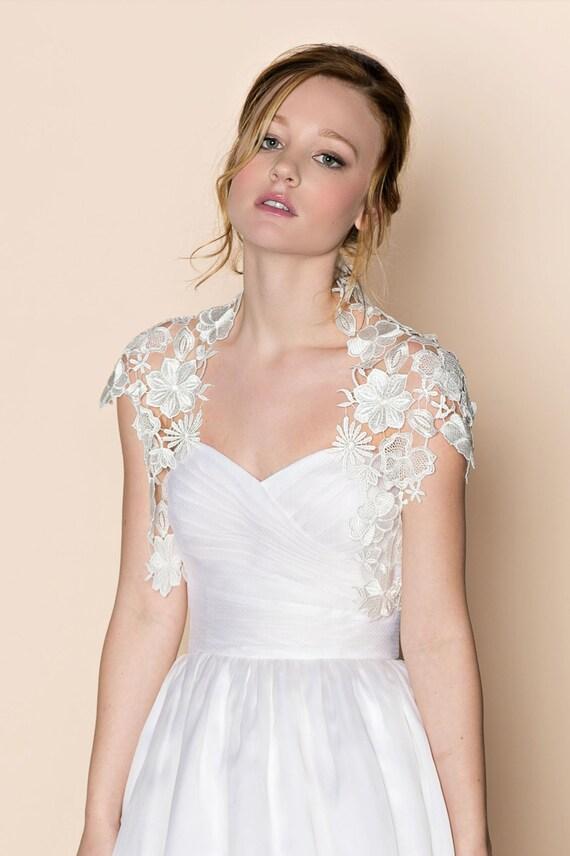 Krista Italian guipure embroidered lace bolero shrug cap