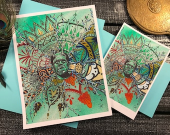 Frankenstein, mandala artwork, reproduction prints.