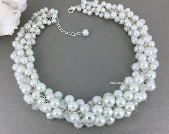 Chunky Necklace Bridal Jewelry White Necklace Cluster Necklace Bridesmaid Gift Bridal Necklace Wedding Jewelry Bridal Party Jewelry Gift