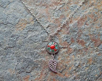 Southwestern style necklace - small red and turquoise enameled medallion pendant - silver leaf necklace - boho style - handmade in montana