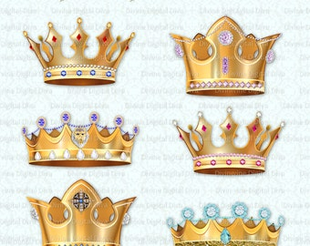 Prince & Princess Crowns | Gold Diamonds Jewels Gems Pearls | Digital Clipart Instant Download