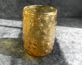 Vintage Amber Crinkle Design candle holder by Morgantown mid century home decor candles & holders