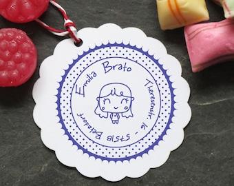 Stamp girl girl with polka dots 40mm ø
