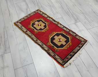 Vintage red Turkish rug for sale wool area rug red and black handmade rugs