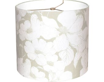 Floral lamp shade etsy medium drum lamp shade dogwood flower in soft green 10 11 12 inch contemporary floral mozeypictures Image collections