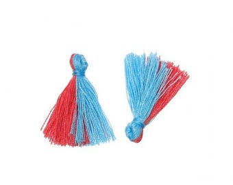20 mini tassels two-tone blue and Red 25mm