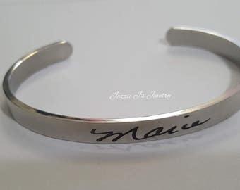 Actual Handwritten Cuff Bangle, Handwriting Jewelry, Engraved Handwriting, Personalized Gift, Signature Jewelry, Handwritten Engraving