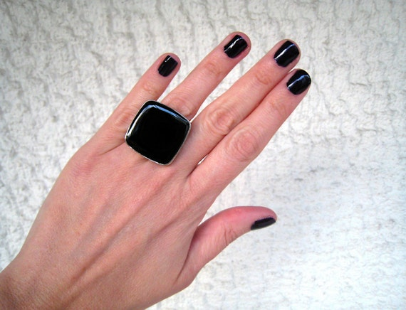 Onyx Black ring, black statement ring, black resin ring, black glass ring, big chunky square ring, modern minimalist, sexy goth rock fashion