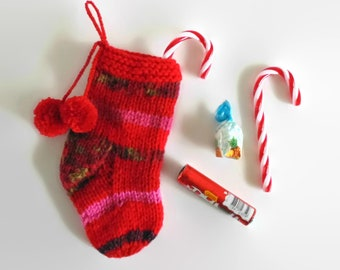 Red Orange Pink Wool Christmas Stocking Pom Pom Socks, One of a Kind, Hand Knit  Ornaments Props Decoration Holiday Gift, Hand Knitted Items