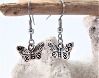 Charmed! Butterfly earrings silver plate antique finish on hypoallergenic surgical steel hooks