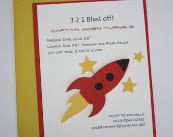 Space Invitation - Space Ship Invitation - Rocket Ship Invitation