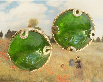 Dominique Aurientis Paris Green Glass Dome Clip Earrings - Vintage Large Aurientis Round Glass Clip-Ons Signed-Green Gold Designer Earrings