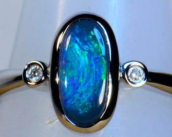 Schnäppchen Sie massiv 18 k Weißgold solide australischen Opal & Diamant Kleid/Verlobungsring (14485)