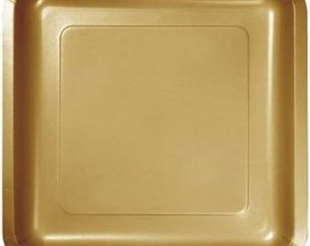 10 Ct Sturdy 9 Inch disposable Glimmer Gold Square Paper Plates - Dinner - Luncheon Size Plates - Birthday - Shower - Party - All Occasion : square paper plates - pezcame.com