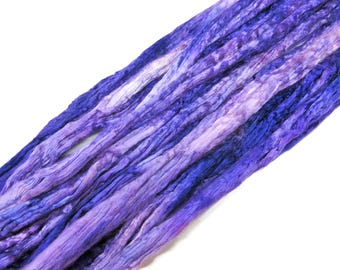 Hand dyed Mulberry Silk roving,  (Purple/Rose)