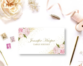 Wedding Place Card Template, Romantic Floral, Gold Sparkles, Floral Wedding, Vintage Wedding, INSTANT Download PDF Template #CL111