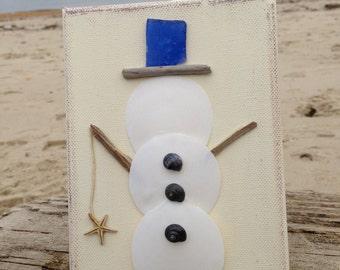 Snowman Art, snowman, Coastal Christmas, Beachy snowman, Christmas at the Beach
