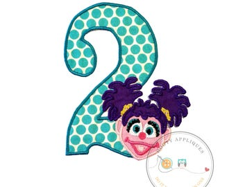 Large birthday number 2 girl puppet - iron embroidered fabric applique patch embellishment- ready to ship