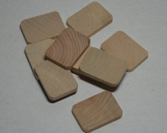 "1"" x 1-3/8"" Wood Rectangles - Set of 10 Wood Tiles - Unfinished Wood - 3/16"" Thick"