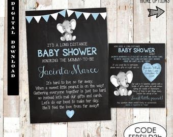 Long Distance Baby Shower Invitation, Long Distance Elephant Baby Shower Invitation, Boys Long Distance Elephant Baby Shower Invitation Set.