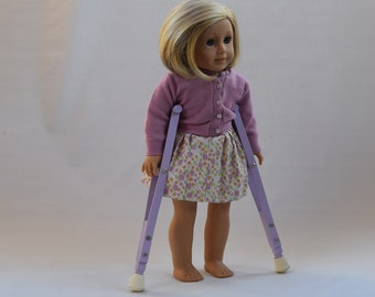 "PURPLE Toy Crutches For 18"" Dolls"