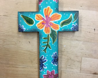 Oil Cloth inspired hand painted wooden Cross