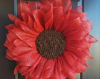 Red Sunflower Wreath, Red Flower Wreath, Home Decor, Rustic Sunflower Wreath, Front Door Wreath,  Pinecone Wreath, Sunflower Wreath