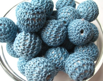 Teal Crochet Beads, 6 Chunky Beads, Knit Beads, 21mm Chunky Beads, Bubblegum Bead, Gumball Bead