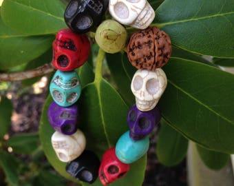 Stone Skull and Rudraksha Seed Bead Bracelet