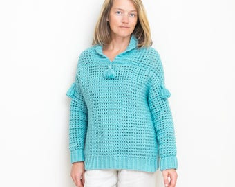 Women Sweater Crochet PATTERN - Shawl Collar, Tassels, Chunky Oversized, Winter - Jade - Beginner Easy Pattern - Small to Plus size 3X - PDF