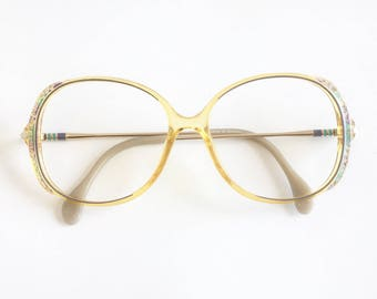 Vintage 1980's Zeiss Oversized Plastic Eyeglasses with Crystals