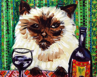 cat art - Cat art BURMESE wine art JSCHMETZ pop folk abstract modern, cat gifts, gift