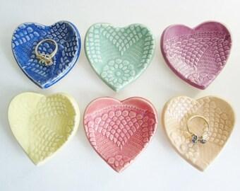 Heart Ring dishes, candle holder, Bridal shower favor, Baby shower favor, Wedding favors